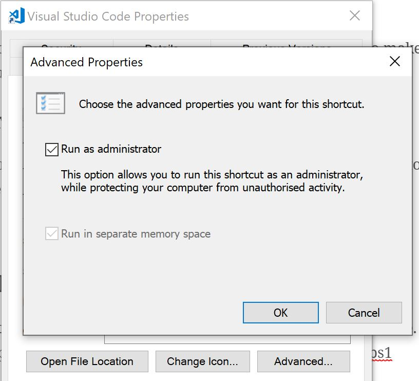 VS Code Shortcut Properties.JPG